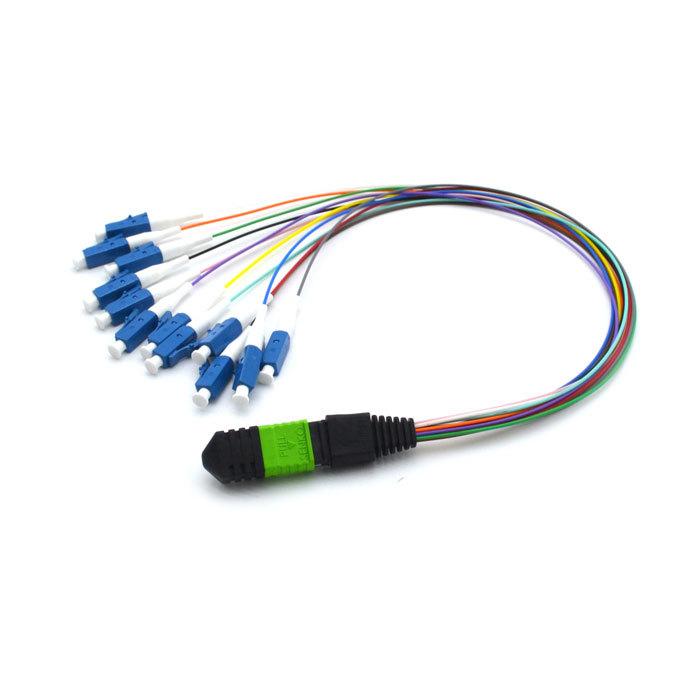 MPO-LC 12 muti-color tight buffer fiber patch cords 0.3m