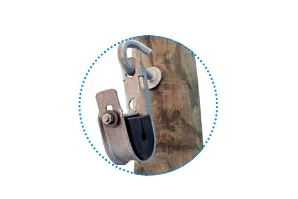 Suspended from a hook bole:The clamp can be installed on a 14mm or 16mm hook bolt on drilled wood poles.